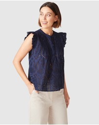 French Connection - Cotton Broderie Top
