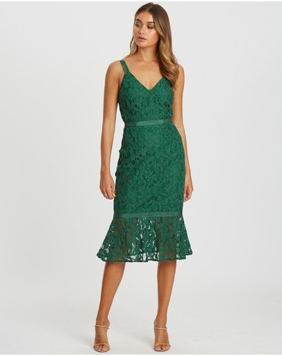 Chancery Esme Lace Midi Dress Emerald