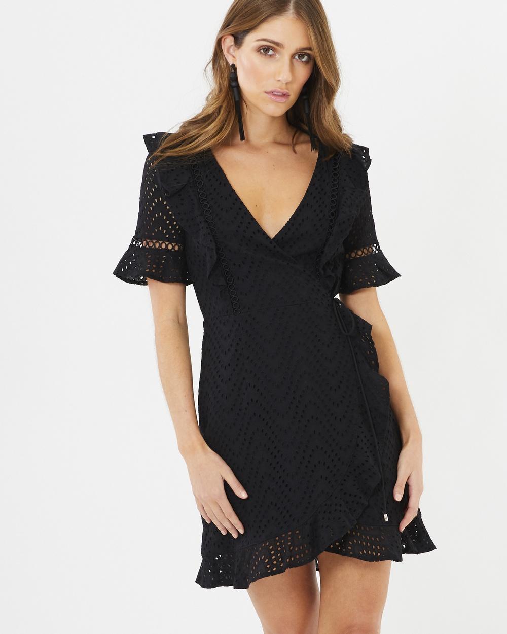 CHANCERY Megan Lace Wrap Dress Dresses Black Lace Megan Lace Wrap Dress