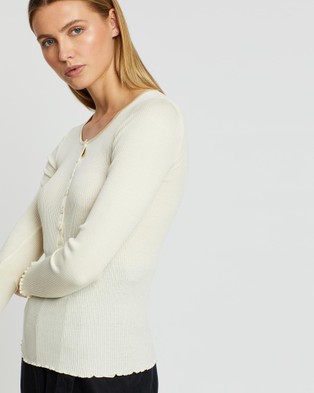 Grace Willow Ammy Silk & Cotton Seamless Button Up Top - Tops (Cream)