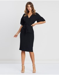 Atmos&Here - ICONIC EXCLUSIVE - Tarin V-Neck Ruched Sleeve Dress
