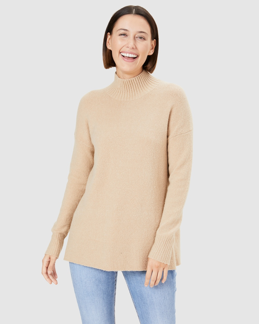 French Connection Cosy High Neck Knit Jumpers & Cardigans CAMEL Australia