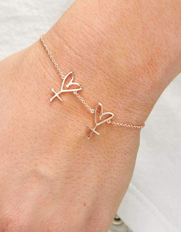 Women Large Twin Hearts Bracelet