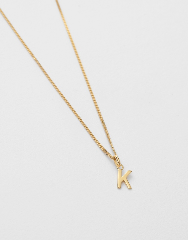 Women K Outline Initial Necklace