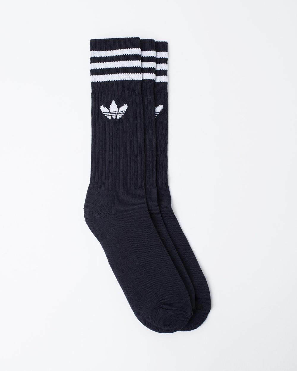 adidas Originals Solid Crew Socks 3 Pack Underwear & Black White