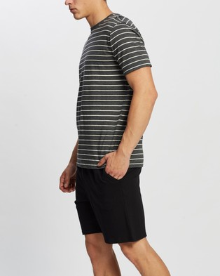 Marks & Spencer Pure Cotton Striped Pyjama Set - Two-piece sets (Grey Marle)