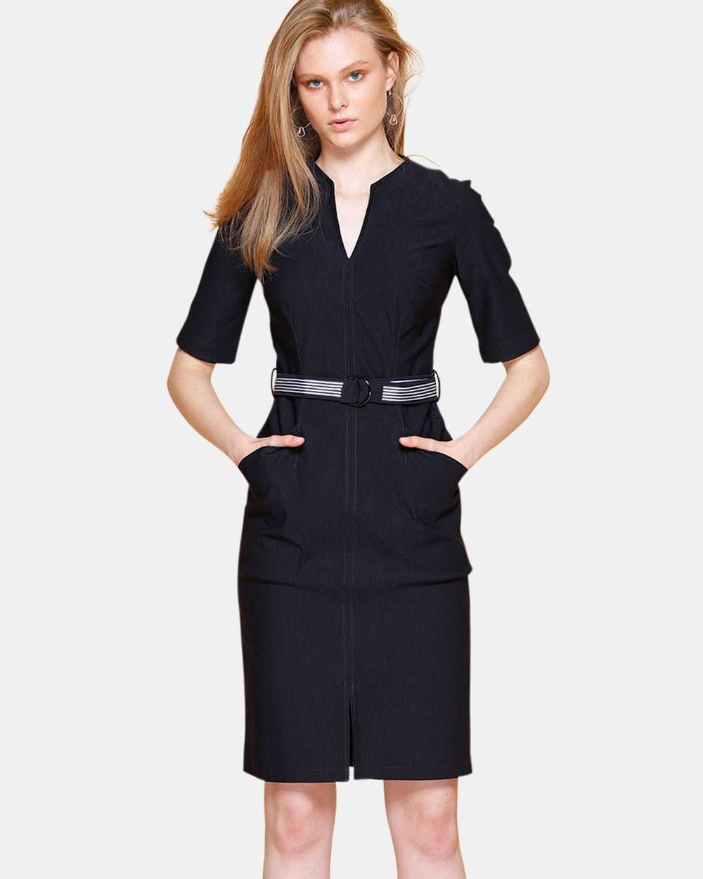 Buy SACHA DRAKE Navy Fitted 3-4 Sleeve Belted Dress -  shop SACHA DRAKE dresses online