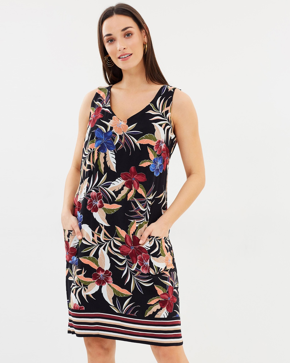 Wallis Polynesian Pinny Dress Printed Dresses Black Polynesian Pinny Dress