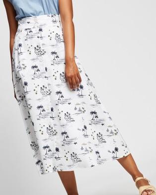 Marcs Island In The Sun Midi Skirt - Skirts (Ivory Multi)