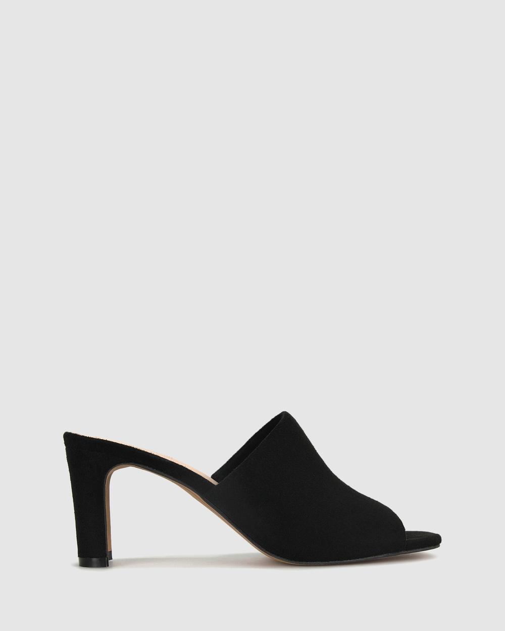 Betts Kara Square Toe Mules Sandals Black