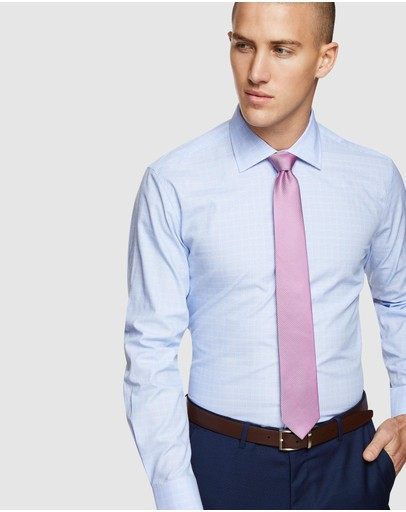Oxford Islington Checked Easy Care Shirt Blue
