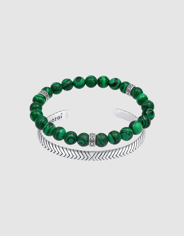 Men Bracelet Bracelet Set Oxidised Agate Green Statement in 925 Sterling Silver