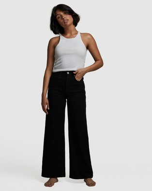 Cotton On Petite Wide Leg Jeans - Relaxed Jeans (Black)