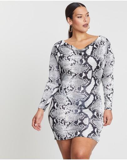 Missguided Curve Cowl Neck Slinky Mini Dress Grey