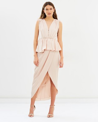Shona Joy – Calypso Ruched Peplum Maxi – Bridesmaid Dresses Blush