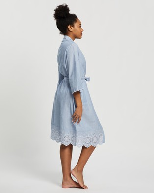Marks & Spencer Cotton Broderie Short Wrap - Sleepwear (Blue Mix)