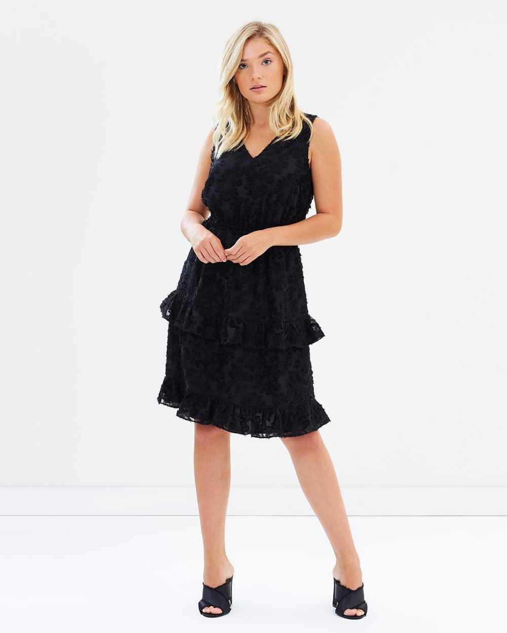 Atmos & Here ICONIC EXCLUSIVE Amber Ruffle Dress Dresses Black ICONIC EXCLUSIVE Amber Ruffle Dress