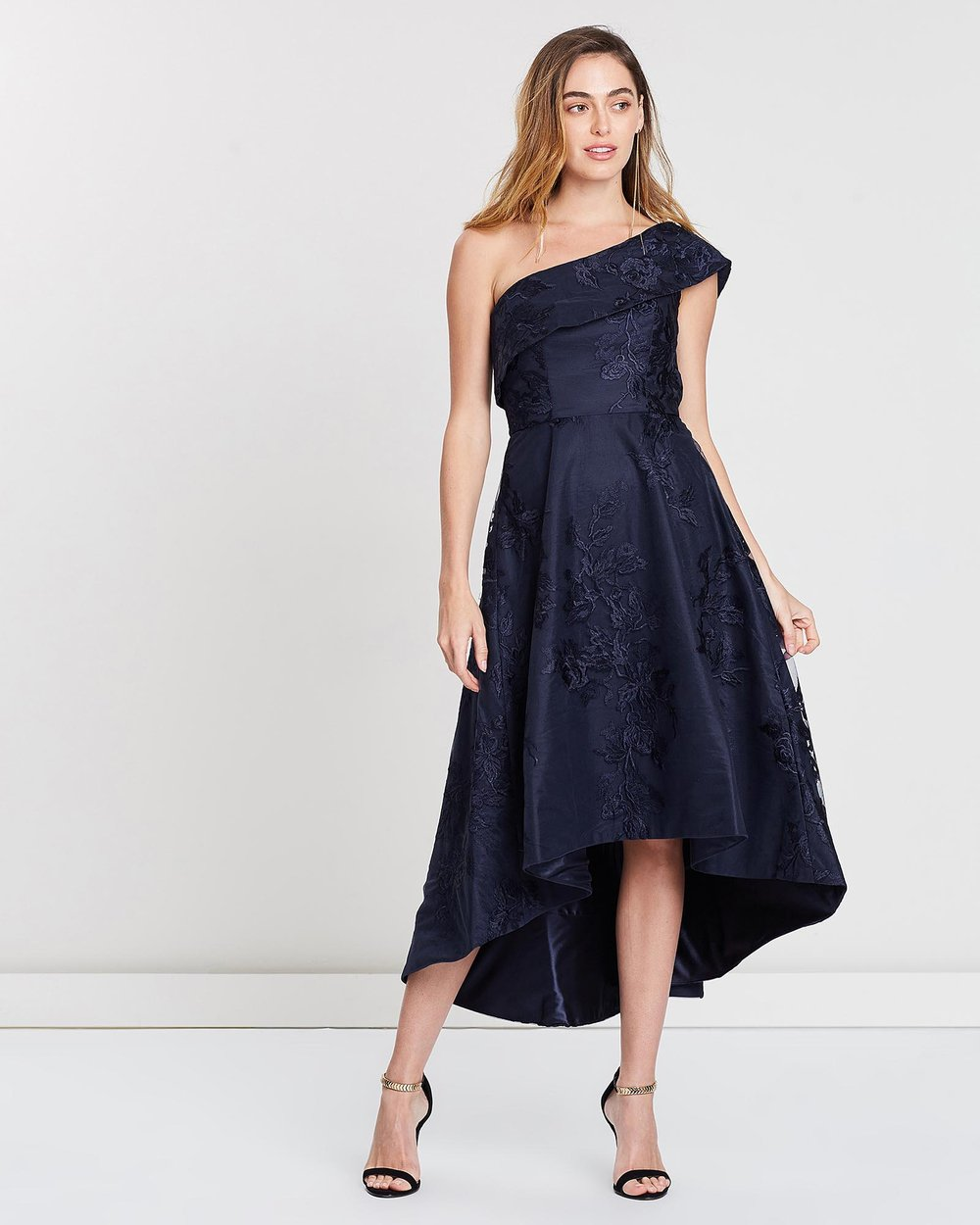 Sarah One-Shoulder Lace Flare Dress by Bariano Online  54fd23a31
