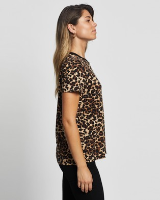 Atmos&Here Stacey Contrast Tee - Tops (Leopard)