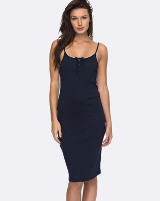 Roxy – Womens Happy New Way Rib Dress – Swimwear DRESS BLUES
