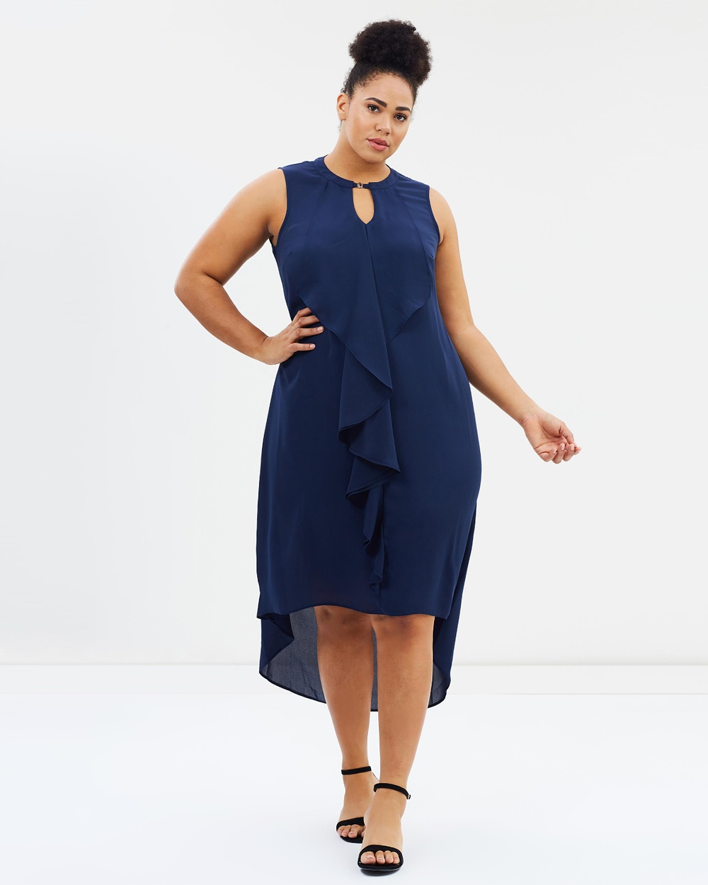 EVANS Frill Dress Dresses Navy Frill Dress