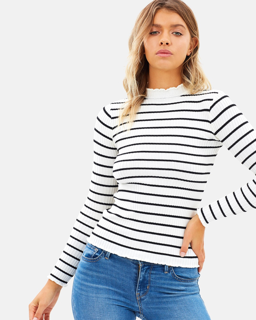 Atmos & Here ICONIC EXCLUSIVE Elise Ribbed Knit Top Tops Black & White Stripe ICONIC EXCLUSIVE Elise Ribbed Knit Top