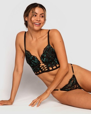 Bras N Things Vamp Pull Up To The Bumper Bliss Plunge Contour - Lingerie (Black/Aqua)