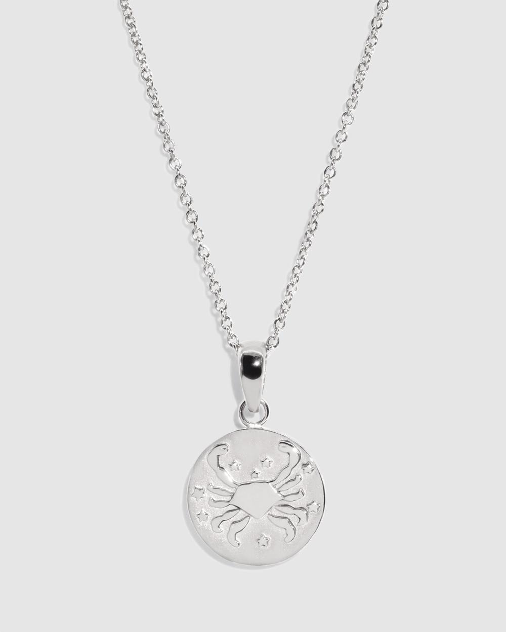 Molten Store The Silver Cancer Zodiac Pendant Necklace Jewellery Silver