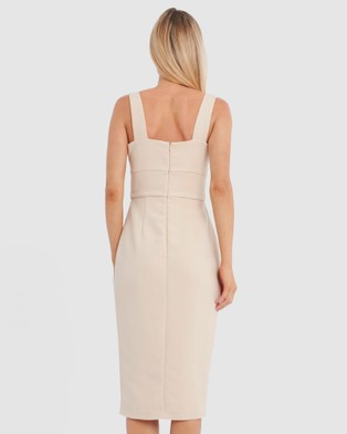 Forcast Isa Sweetheart Midi Dress - Bodycon Dresses (Ecru)