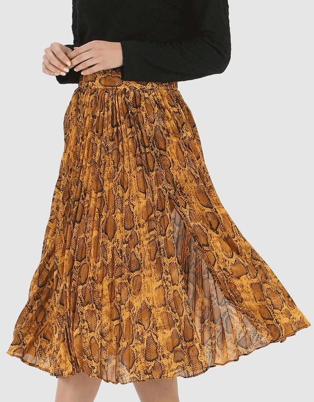 Privilege - Pleated Split Skirt