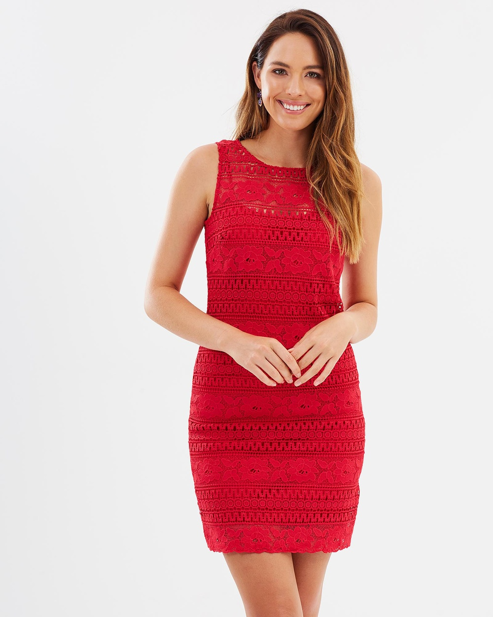 Montique Cindy Lace Shift Dress Dresses Coral Cindy Lace Shift Dress