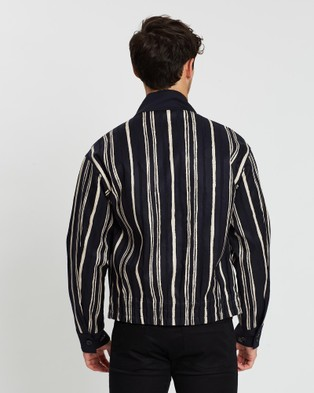 CERRUTI 1881 Twill Striped Button up Blouson - Coats & Jackets (Navy)