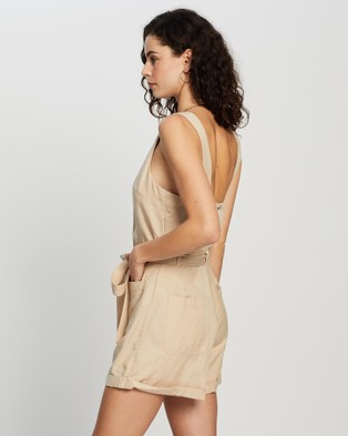 All About Eve Utility Playsuit - Jumpsuits & Playsuits (NUDE)