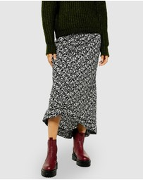 TOPSHOP - Mono Ruched Floral Midi Skirt