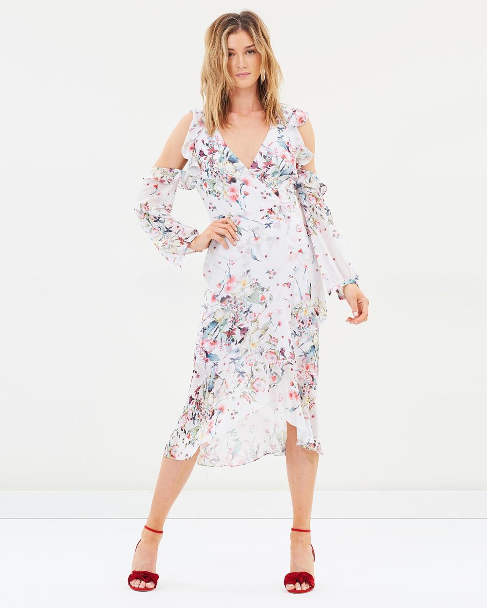 Cooper St Titania Cold Shoulder Dress Printed Dresses Print Light Titania Cold Shoulder Dress