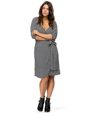 Embody Denim – Royal Wrap Dress – Dresses (Spot Black & White)