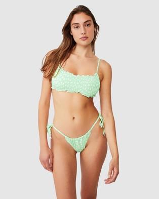 Cotton On Body Gathered Tie Brazilian Bikini Bottoms - Bikini Bottoms (Mint Daisy)