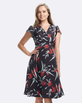 Soon Maternity – Elizabeth Midi Dress – Printed Dresses Black