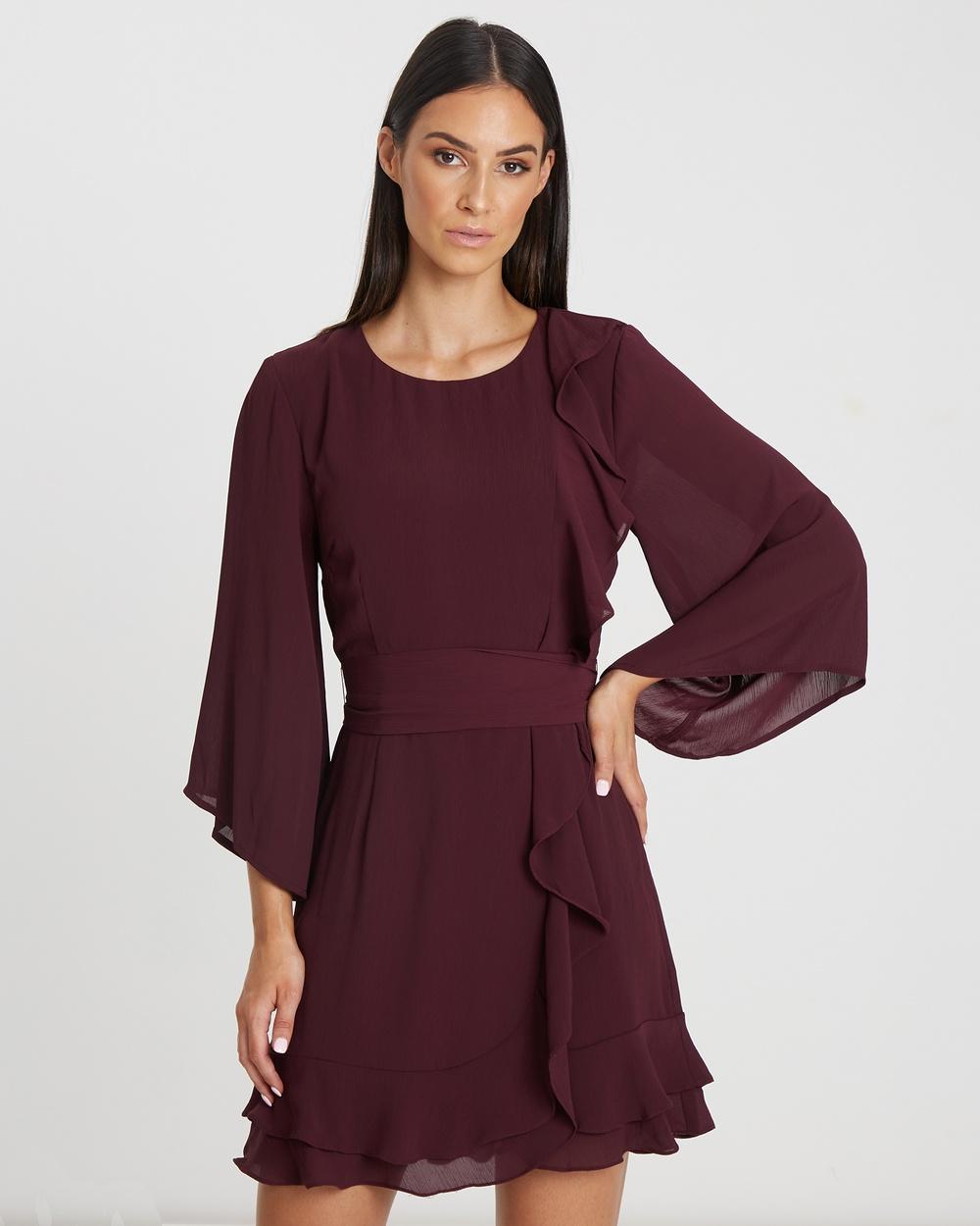 Tussah Alma Ruffle Mini Dress Dresses Plum Alma Ruffle Mini Dress