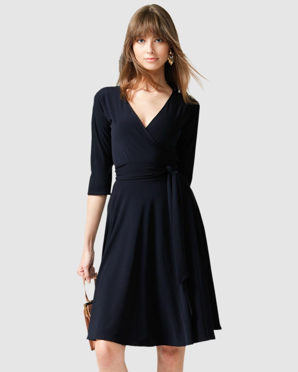 Buy SACHA DRAKE Navy Reverse Wrap Dress -  shop SACHA DRAKE dresses online