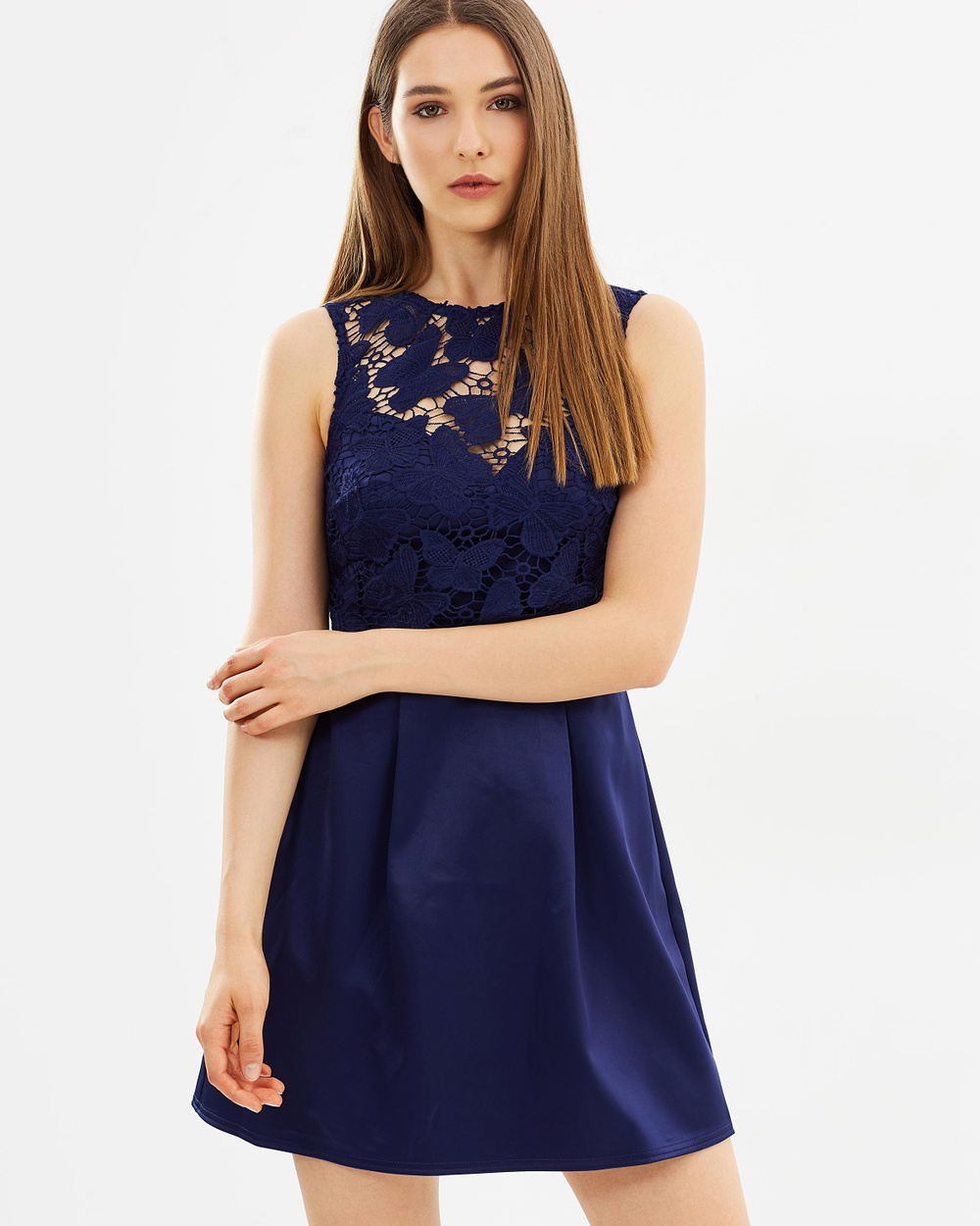 Lipsy Butterfly Lace Skater Dress Dresses Navy Butterfly Lace Skater Dress