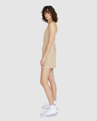 Subtitled Robin Tie Back Linen Dress - Dresses (TAN)