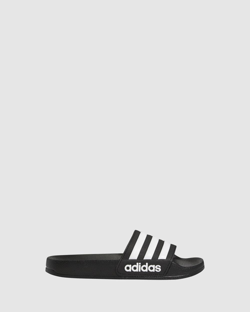 adidas Performance Adilette Shower Slides Sandals Black/White Australia