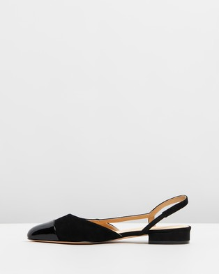 Atmos&Here Monaco Leather Flats - Ballet Flats (Black Suede & Black Patent Leather)