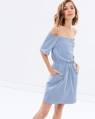 Miss Selfridge – Ticking Stripe Bardot Dress