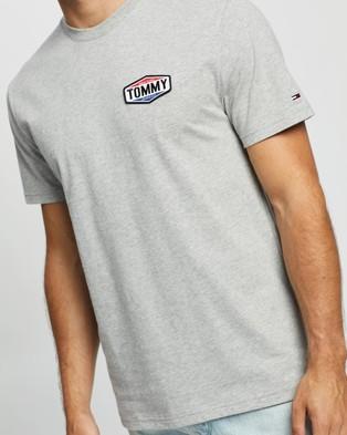 Tommy Jeans Tommy Patch Logo Tee - T-Shirts & Singlets (Light Grey Heather)