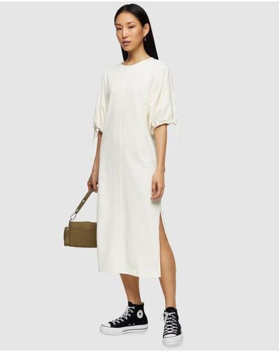 Topshop Drawstring Midi Dress Ecru
