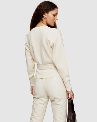 TOPSHOP Belted Sweat - Jumpers & Cardigans (Ivory)