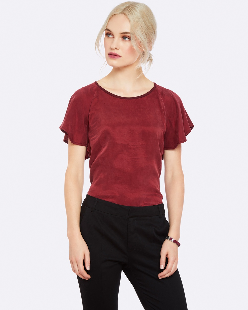 Oxford ROSIE RUFFLE T SHIRT RED Tops Red ROSIE RUFFLE T-SHIRT RED