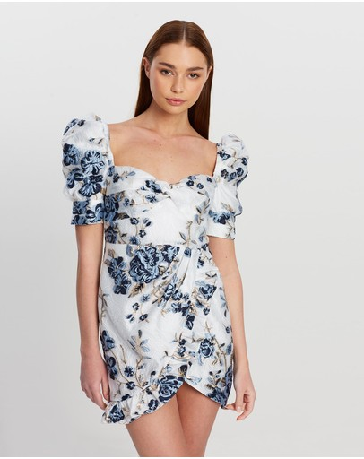 Nicola Finetti Dalilah Dress Ivory & Blue